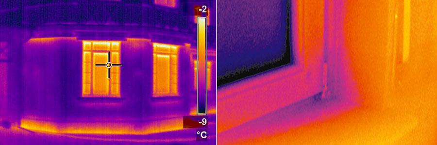 Тепло выходит через окна - тепловизионное обследование